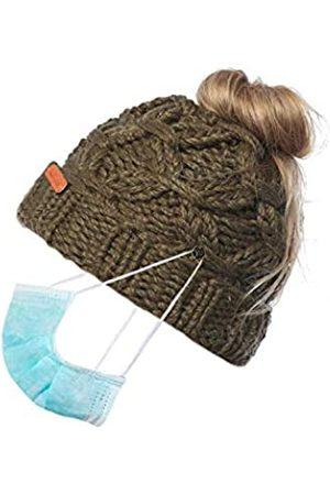 Bocianelli Damen Pferdeschwanz Beanie Mütze mit Knopf für Maske