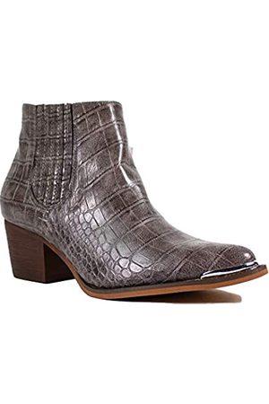 2020 IN Damen Stiefeletten Croco Print Mid Heel Metall Zehenkappe Western Booties, (anthrazit)