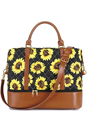 CAMTOP Women Weekender Bag Travel Tote Quilted Overnight Carry On Travel Duffle Bag in Trolley Handle (289 Sunflower-Black)