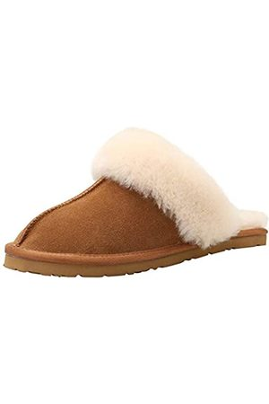 HOMEEY Damen Schaffell Hausschuhe echte Winter Wolle weich warm Indoor Outdoor bequem gemütlich atmungsaktiv, Braun (khaki)