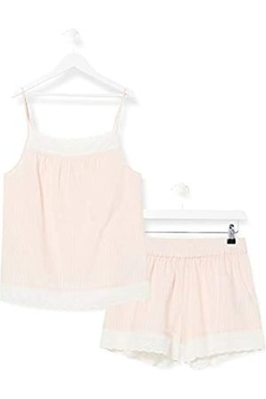 IRIS & LILLY Damen Pyjama-Set aus Baumwolle, Pink (rosa gestreift), L