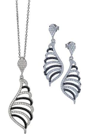 ORPHELIA Damen-Set: Halskette + Ohrringe 925 Sterling Silber Zirkonia -wei SET-5227