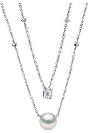 Yoko London 18kt Weißgoldhalskette mit Perle und Diamanten