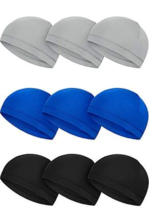 SATINIOR 9 Stück Schädelmütze Laufmützen Schweißableitende Hüte Milchseide Radfahren Helm Liner für Herren - - MEDIUM
