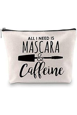 POFULL Mascara Make-up Tasche Make Up Liebhaber Geschenk Kaffee und Make-up Tasche All I Need Is Mascara und Koffein Kosmetiktasche Reisetasche