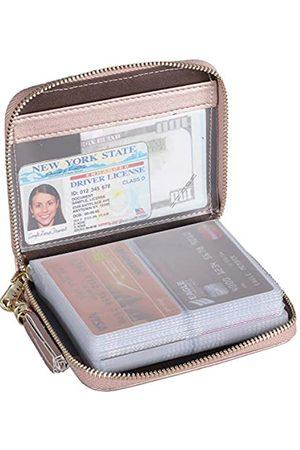Easyoulife Herren krotitkarteninhaber geldbörse mit reißverschluss leder card case rfid blocking mittel rosé