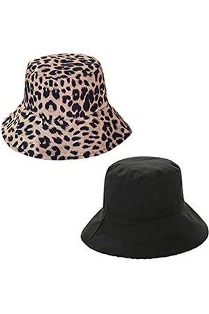 Rebecca Giovacker Damen Baumwolle Leopard Print Bucket Hat Sun Wide Brim Reversible Cap - - Einheitsgröße