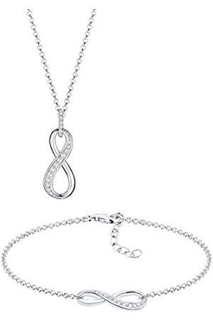 Elli Schmuckset Damen Infinity Unendlichkeit mit Zirkonia in 925 Sterling Silber