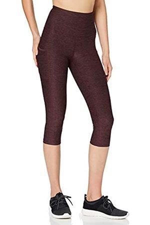 AURIQUE Amazon-Marke: Damen Capri-Lauf-Leggings mit hohem Bund, Rot (Port Marl), 40