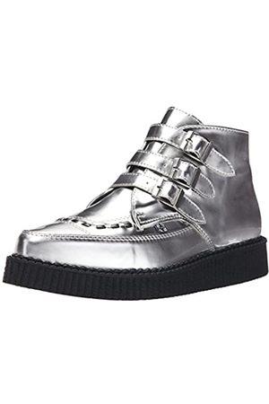 TUK Women's Metallic Pointed Toe Buckle Creeper Boot
