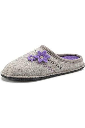 LE KAPMOZ Damen Pantoffeln aus gekochter Wolle, atmungsaktiv, schweißfrei, Clog, Slipper, Pantoffeln für drinnen und draußen, (Hellgrau/ Gummisohle)