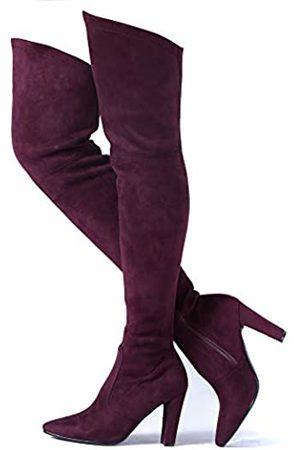 Shoe'N Tale Damen Overknee-Stiefel, Stretch, Wildleder, klobiger Absatz, Oberschenkelhoch, Rot (Weite Wade und weites Bein, Burgunderrot)