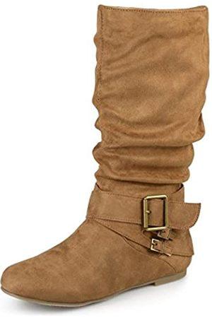 Journee Collection Damen regelmäßige und Wide-Calf Schnalle Slouch, Wadenhohe Stiefel, Braun (kastanienbraun)