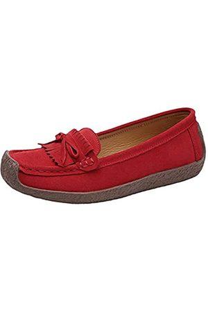 Jiu du Damen Mokassin Loafers Wildleder Casual Fahren Walking Flach Weiche Schuhe, (Nubukleder )