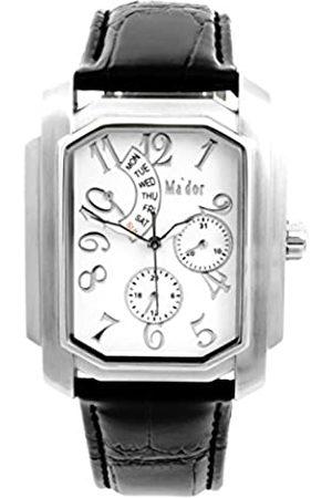 Ma'dor Mador - G04035-W - Armbanduhr für Herren - Quartz - Anzeige Analog - Sport - Klassisch und Elegant - Datumsanzeige - Lederarmband - Zifferblatt Weiß