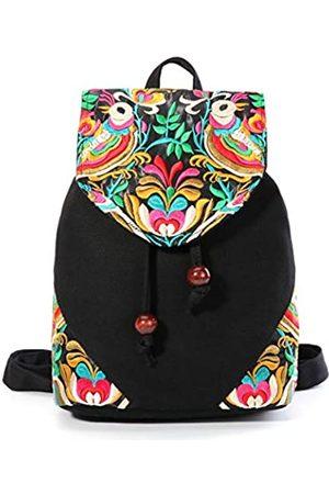 Goodhan Bestickte Damen Rucksack Geldbörse Baumwolle Canvas Schultertasche Daypack Reise Handtasche (Birds)