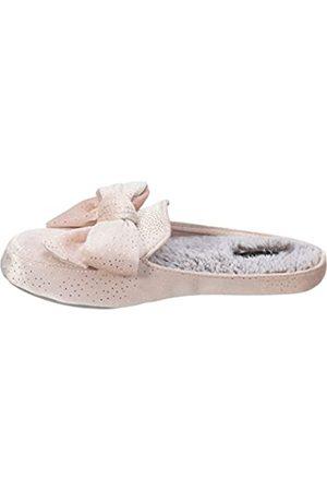 Dearfoams Damen Gold Fleck Velvet Mule with Bow Slipper, - Dusty pink