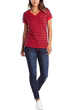 Nautica Damen Easy Comfort V-Neck Striped Supersoft Stretch Cotton T-Shirt
