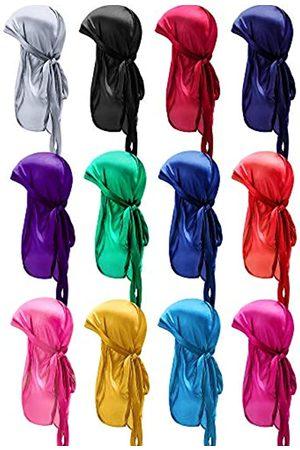 SATINIOR 12 Stücke Seidiger Durag Kappe Weiches Kopftuch mit Langem Schwanz Elastische Breite Träger Kopfwickel für Frauen Männer Gefälligkeiten