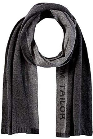 TOM TAILOR Herren Jacquard Wording Schal, 10617-Black Grey Melange