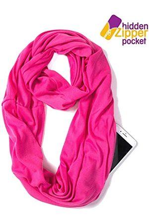 elzama Infinity Loop Schal mit versteckter Reißverschlusstasche für Damen – leichtes Reise-Nackenband - Pink - Einheitsgröße