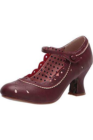 Bettie Page Damen Vintage Style Pump, Rot (burgunderfarben)