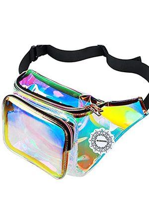 WODODO Damen Shiny neon Fanny Tasche für Rave Festival Hologram Bum Reise hüfttasche Mitte schillernde lila