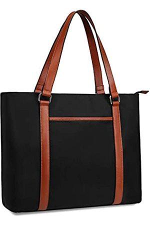 Gywon Damen Arbeitstasche Laptop Schultertasche Nylon Totes Echtleder Griff Handtasche Geldbörse passend für 15,6 Zoll, ( / )