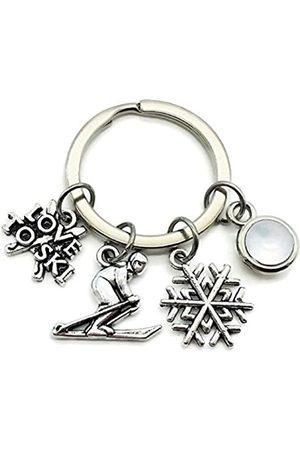 Kit's Kiss Skifahren Schlüsselanhänger, Skifahrer Schlüsselanhänger, Skifahren Charm Schlüsselanhänger, Schneeflocke Charm, Ski Charm, I Love To Ski Schlüsselanhänger, Geschenk für Skifahrer