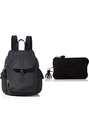 Kipling Womens City Pack Mini Backpacks, Black Noir, 27x29x14 Centimeters (B x H x T) + Womens CREATIVITY S POUCHES/CASES, Black Noir