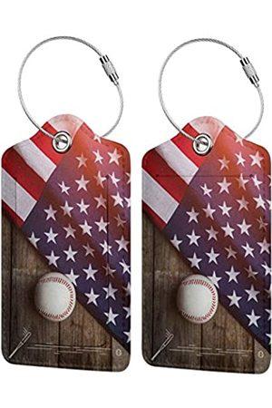 COWDIY PU Leder Gepäckanhänger, American Flag Baseball Koffer, Gepäck Etiketten, Business ID-Kartenhalter, Geschenk für Reisen