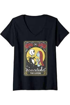 The Nightmare Before Christmas Damen T-Shirts, Polos & Longsleeves - Damen Jack And Sally The Lovers Tarot T-Shirt mit V-Ausschnitt