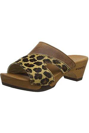 Woody Damen Fiona Pantoletten, Mehrfarbig (Leopard 078)