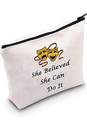 """LEVLO Kosmetiktasche für Theater, Motiv: Drama, Thespian, Motivationsgeschenk, mit Reißverschluss, mit Aufschrift """"She Believed She Can Do It"""""""