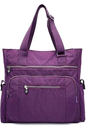 Nawoshow Damen Canvas Tote Bag Wasserdichte Nylon Multi Pocket Schultertaschen Arbeitstasche Lehrerbörse und Handtaschen, (A-purple)