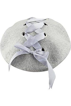 MINAKOLIFE Damen Französisch Künstler Solide 100% Wolle Baskenmütze Hüte mit Nieten Band