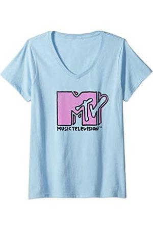 MTV Damen Finger Paint Logo T-Shirt mit V-Ausschnitt