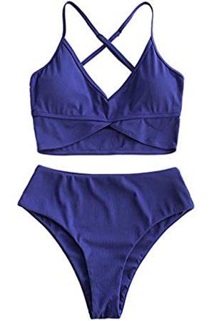 Zaful Damen Badeanzug mit hoher Taille, gerippt, V-Ausschnitt, Tankini, Bademode, Blumendruck