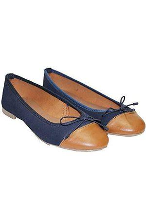 TWISTER Damen Pumps aus 100% Echtleder Ballerinas Flach Stilvolle & Bequeme Loafer Flache Schuhe, (Marineblau/Hellbraun)