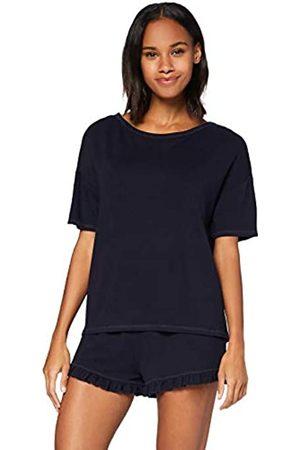 IRIS & LILLY Damen Pyjama-Set aus Baumwolle, blau (marineblau), M