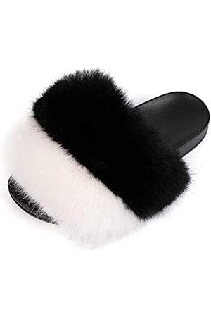 FUNKYMONKEY Damen Slides Faux Pelz Süße Flauschige Hausschuhe Komfort Flache Sandalen, (Dm-ps/ / )
