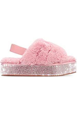 Cape Robbin Lodi Furry Kunstpelz Slides Slipper, Plateau Riemchensandalen Strass für Damen, Pink (blush)