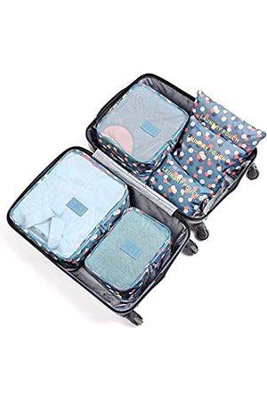 JARITTO 6 Stück Reiseorganizer Koffer Gepäck Verpackung Würfel Aufbewahrungstasche Kleidung waschbar Blumen blau