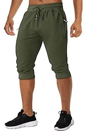 TACVASEN Men's Shorts 3/4 Jogger Capri Long Shorts Running Cotton Below Knee Pants