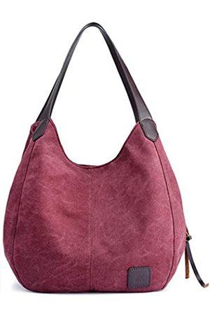 QIXINGHU Schultertasche Casual Handtasche Tote Bag Reisetasche Baumwolle Canvas Tasche geräumige Geldbörse langlebig leicht Frauen lila