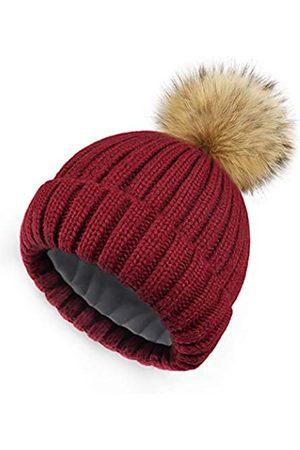 HATOOZE Beanie Mütze Wintermütze Damen Strickmütze für Mädchen Frauen Doppellagige Fleece Futter Bommelmütze mit abnehmbarem Kunstpelz Bommel