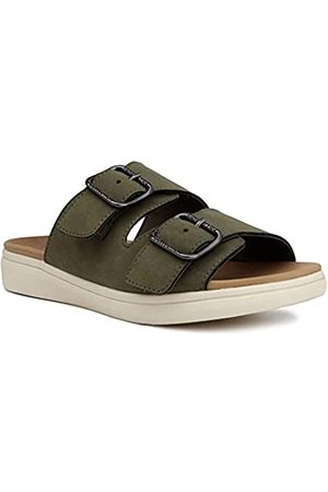 LONDON FOG Lorraine Damen Comfort Slides, Doppelschnalle, Riemen, verstellbare Sandalen, Grün (olivgrün)