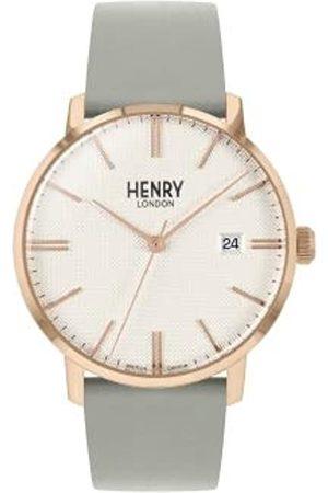 Henry Unisex Erwachsene Analog Quarz Uhr mit Leder Armband HL40-S-0398