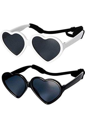Style Vault Sonnenbrillen - Kd61 Sonnenbrille, für Babys und Kleinkinder, Herzform, 0-24 Monate, (2 Stück -Weiß-W-Riemen)