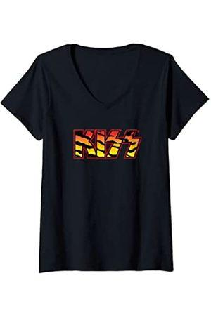 Kiss Damen - Animalize Logo T-Shirt mit V-Ausschnitt
